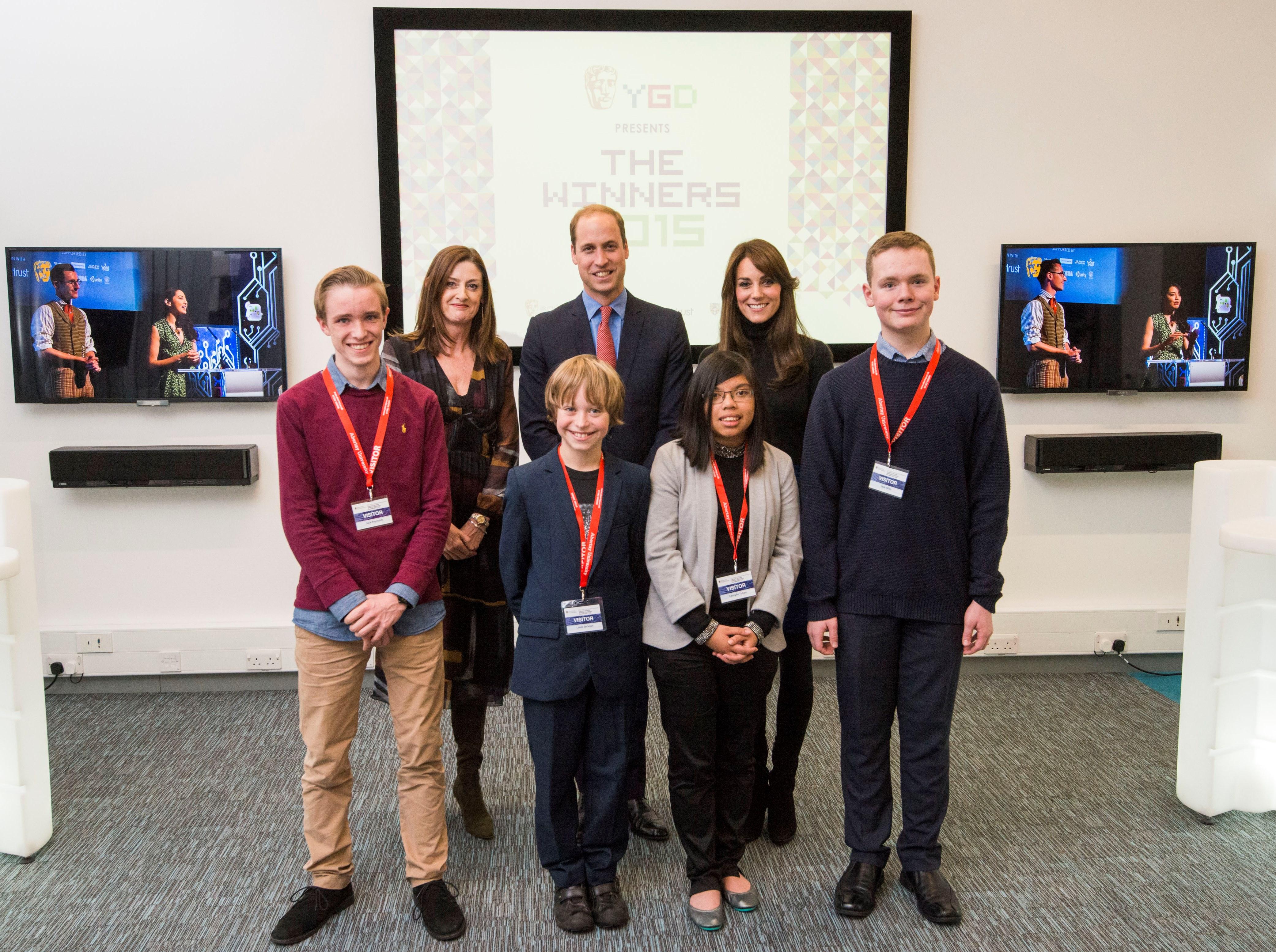 L-r:Jack Reynolds, Amanda Berry, Louis Jackson, HRH The Duke of Cambridge, Camylle Tuliao, HRH The Duchess of Cambridge, Jack Mills
